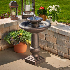 Chatsworth 2-Tier Solar-On-Demand Fountain - Bronze