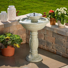 Country Gardens 2-Tier Solar-On-Demand Fountain - Weathered Stone