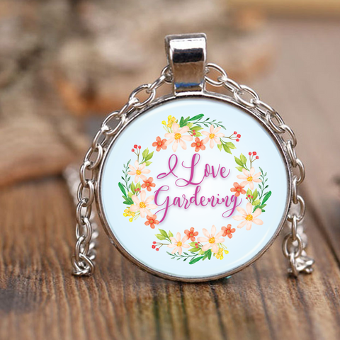 I Love Gardening Pendant Necklace
