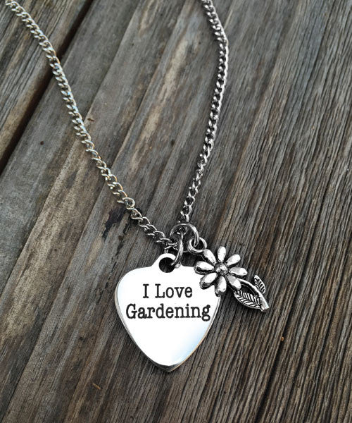 I Love Gardening Charm Necklace