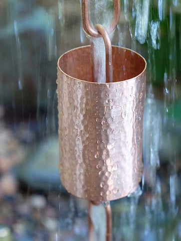 Rainchains - Kenchiku Cylinder Pure Copper Rain Chain - KC286