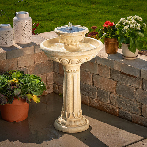 Kensington 2-Tier Solar-On-Demand Fountain - Antique White Finish