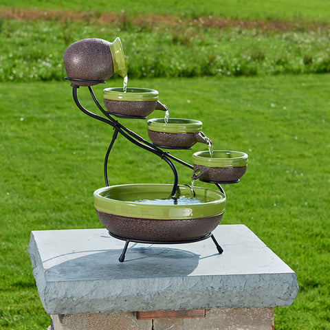 Ceramic Solar Cascade Fountain - Kiwi