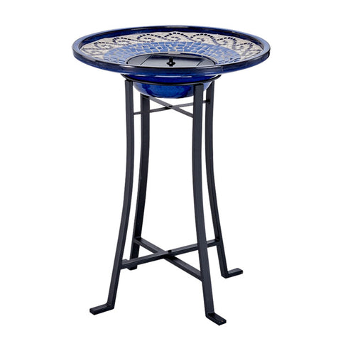 Mosaic Solar Birdbath with Metal Stand - Glazed Ceramic