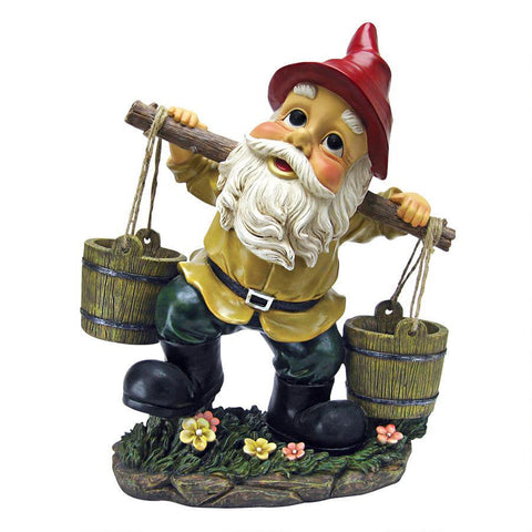 Barney Two Buckets Garden Gnome Statue