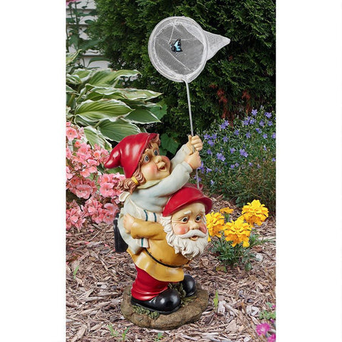 Butterfly Hunters Gnome Statue