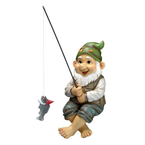 Ziggy, the Fishing Gnome Garden Sitter Statue