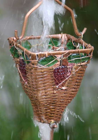 Rainchains - Basket & Glass Copper Cups Rain Chain - RC-54