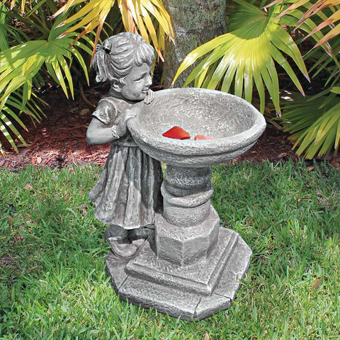 Georgina's Garden Gaze - Child at Birdbath Statue