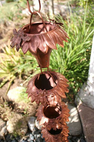 Rainchains - Sunflower Garden Theme Copper Cups Rain Chain - SU-43