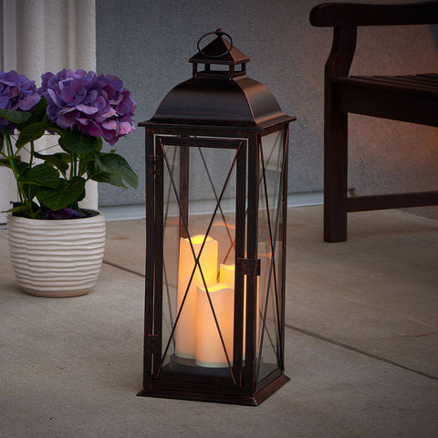 "Salerno 27"" H Triple LED Candle Lantern"