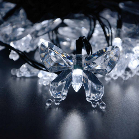 40 LED Solar Powered Butterfly String Lights