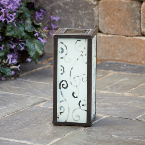 Frosted Scroll Solar Lantern