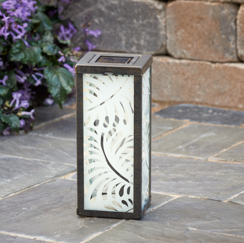 Frosted Glass Solar Light With Palm Leaf Design