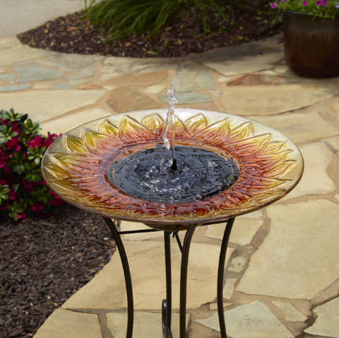 Sunflower Solar Birdbath