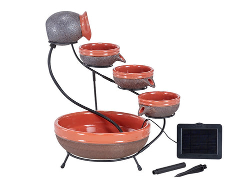 Ceramic Solar Cascade Fountain - Tangerine