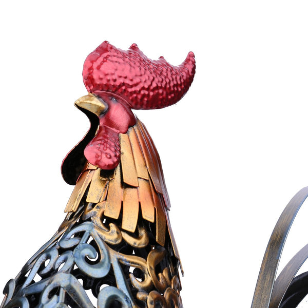 Tooarts Metal Figurine Iron Rooster Home Decor Articles: Handsome Metal Rooster Decor