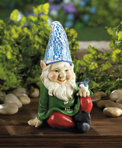 Cheery Gnome Solar Powered Garden Statue