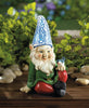 Image of Cheery Gnome Solar Powered Garden Statue