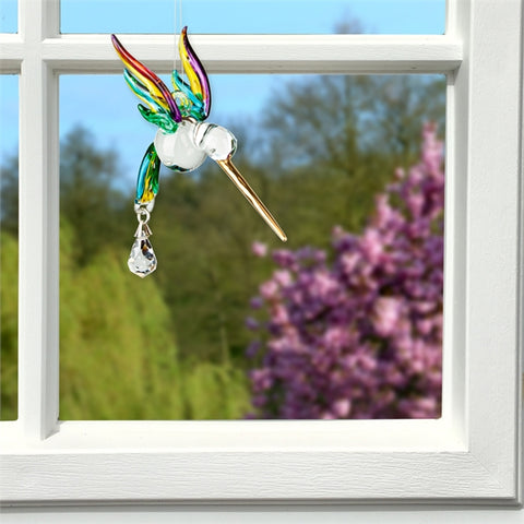 Glass Hummingbird Sun Catcher