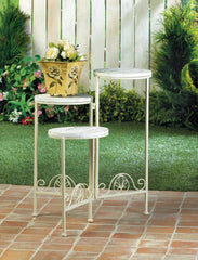Distressed White Triple Planter Stand