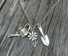 Gardening Theme Silver Necklace With 3 Charms