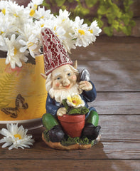 Solar Powered Gardening Gnome Statue