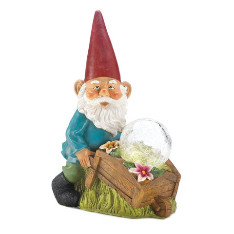 Solar Gnome With Wheelbarrow