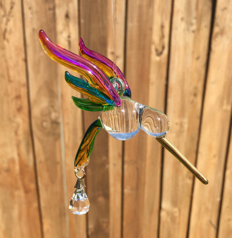 """Glass"" Hummingbird Sun Catcher"