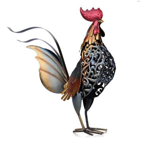 Multi-Colored Handsome Metal Rooster Decor
