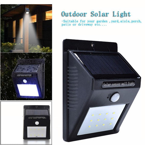 20 LED Solar Wall Light With PIR Motion Sensor