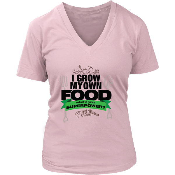 Womens V-Neck - I Grow My Own Food