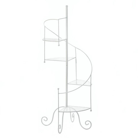 White Spiral Showcase Plant Stand