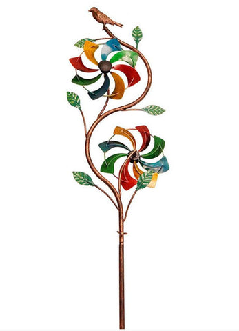 "48"" Rainbow Duo Windmill Garden Stake"