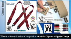 Classic Series X-back USA made Holdup Suspenders with patented Gripper Clasps or silver no-slip clips