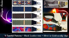 Designer Series patented single clip Holdup Suspenders in 9 tasteful patterns
