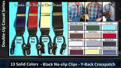 Dual clip Casual Series Double-Ups Suspenders in 14 solid colors