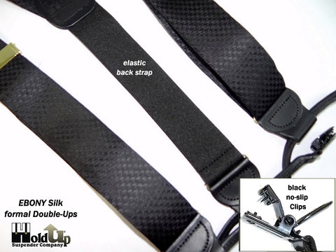 All black dressy silk clip-on Holdup USA made suspenders perfect for any formal event