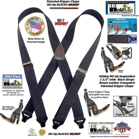Holdup Brand Black Ski-Up USA made X-back Suspenders with Patented black Gripper Clasps