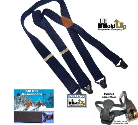 Ski-Ups are X-back Holdup snow sports suspenders with strong gripper clasps and this one is in the black color.