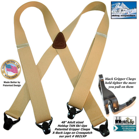 Tan Ski-Ups from Holdup Suspender Company are top quality snow ski sports suspenders with Gripper Clasps
