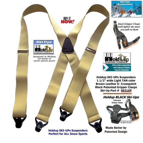 HoldUp Brand Specialty Series Tan Ski-Up Suspenders with Super Strong Patented Black Gripper Clasp