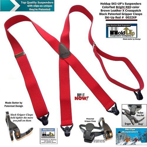 Bright Red Holdup Ski-Ups are X-back snow ski suspenders with patented Gripper Clasps