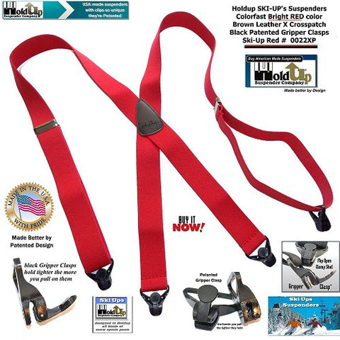 Red Holdup X-back suspnders with Gripper Clasps for snow skiers and snowmobile riders