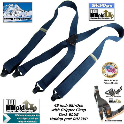 Holdup Blue Ski-Ups snow ski men's gripper clasped Patented USA made suspenders