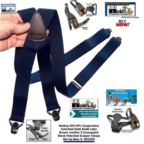 Holdup Brand Ski Suspenders made to grip waterproof pants and come with Brown leather X-back Style crosspatch