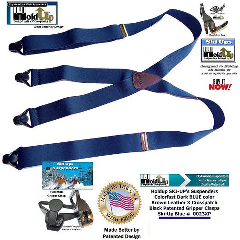 Dark Blue X-back Holdup Ski-Up Suspenders with patented Gripper Clasps for snow sportsmen