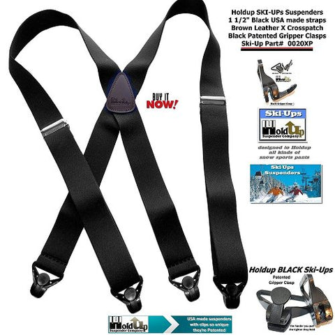 Holdup Suspender Company introduces the XL Black X-back Ski-Up Suspenders which are made in the USA with gripper clasp