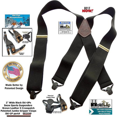 Specialty Series Ski-Up Black Suspenders with Jumbo Black Gripper Clasp
