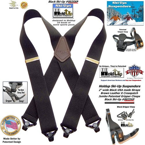 Black Heavy Duty Ski ans snopw sports Holdup X-back suspenders with Jumbo Gripper Clasps